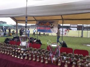 The trophies and awards awaiting collection.
