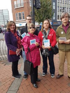 Ashley, Eileen and activists in the town centre.